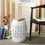 safavieh castle gardens collection lattice coin ceramic xnyl garden stool accent table white home kitchen small dining with leaf promo code pier one tray tables half round drawers 150x150