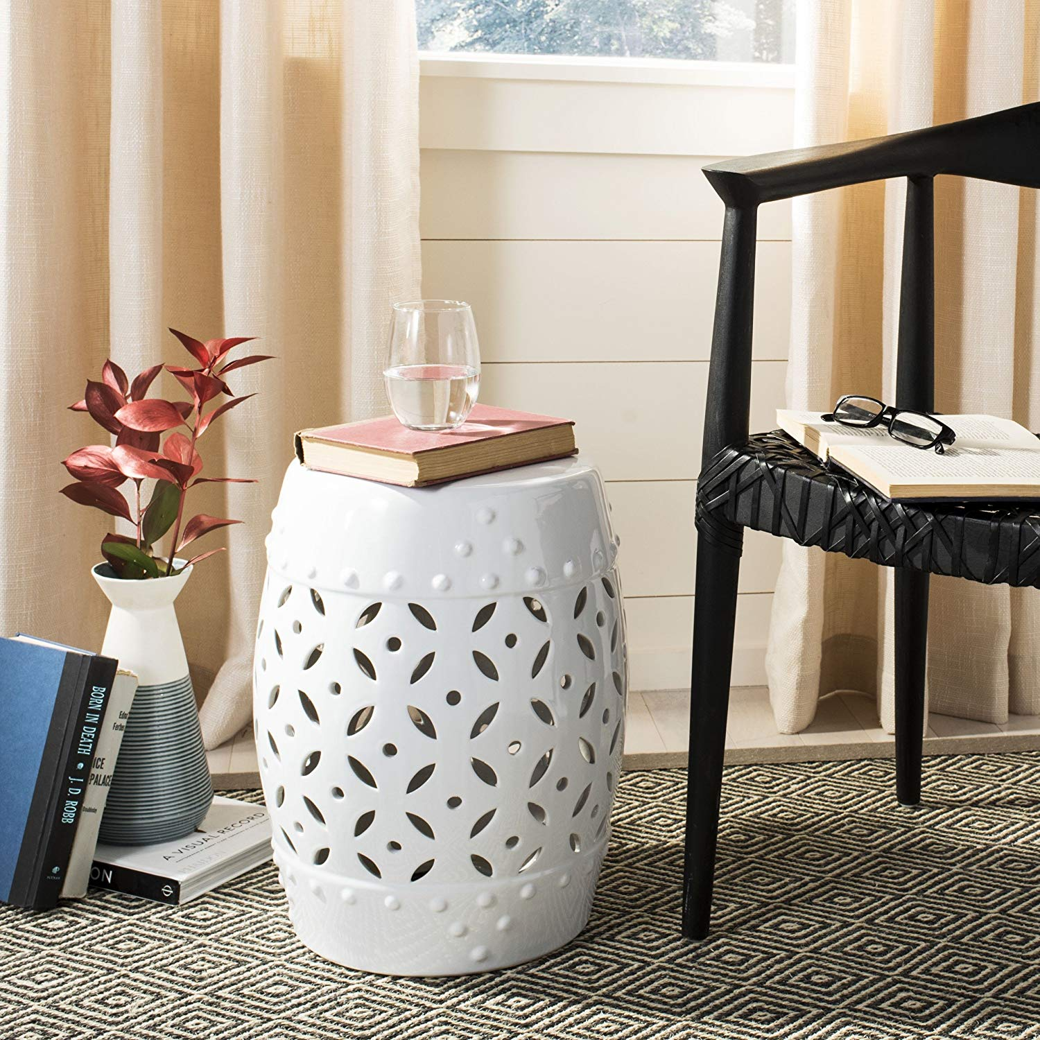safavieh castle gardens collection lattice coin ceramic xnyl garden stool accent table white home kitchen small dining with leaf promo code pier one tray tables half round drawers