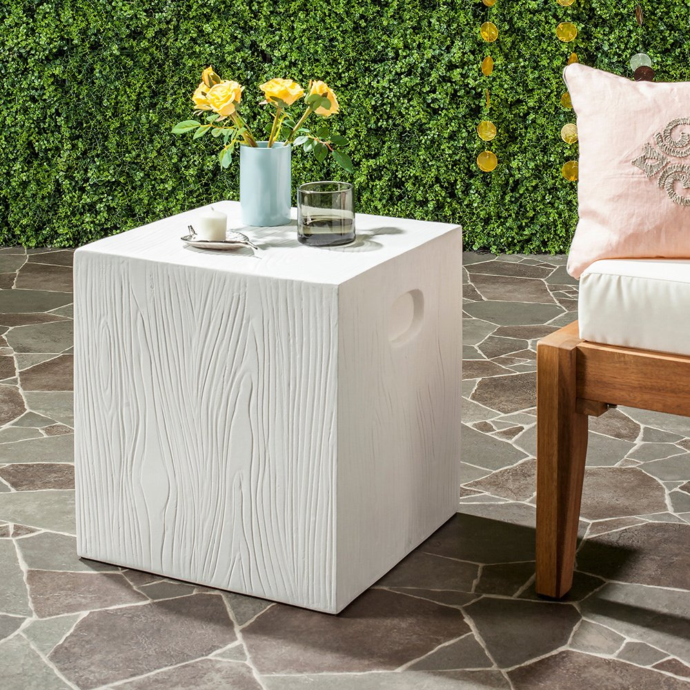 safavieh cube concrete indoor outdoor accent table ivory free shipping today tables for living room terrace furniture hobby lobby coffee modern dining dark cherry wood end big