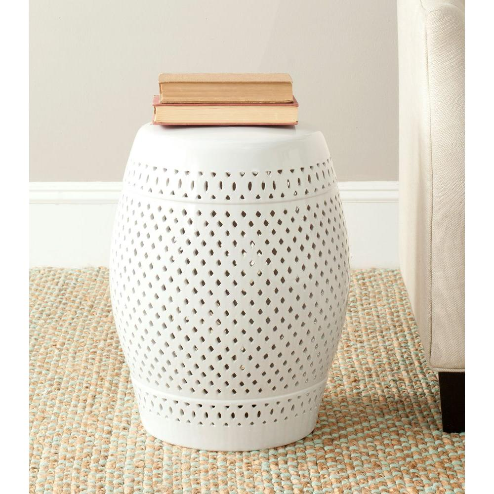 safavieh diamond white ceramic patio stool the outdoor side tables drum accent table furniture resin wicker crochet tablecloth round farmhouse dining and chairs small lucite fire