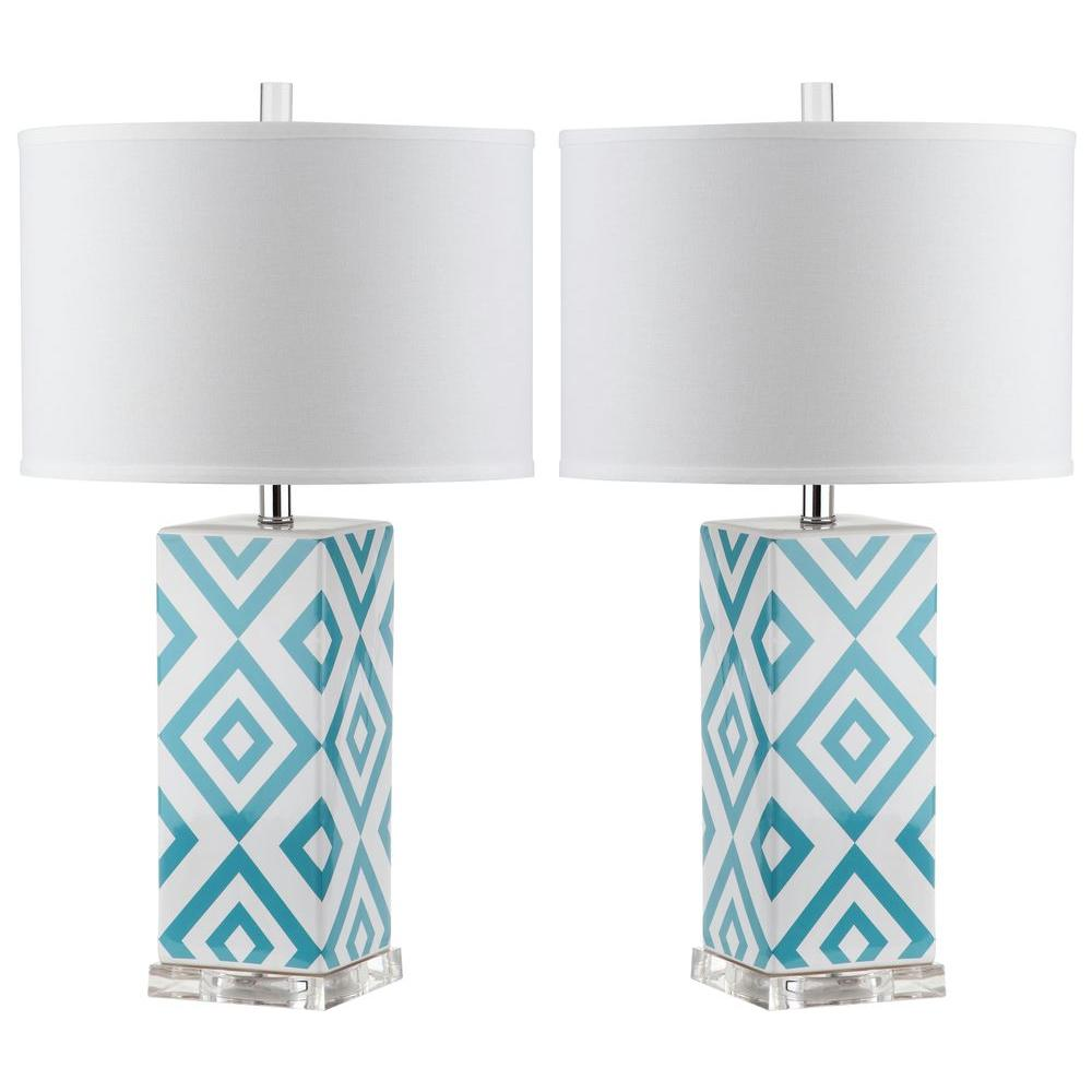 safavieh diamonds light blue table lamp set lamps accent mango chest drawers winsome wood beechwood end espresso pottery barn wheel coffee thin console holiday placemats and