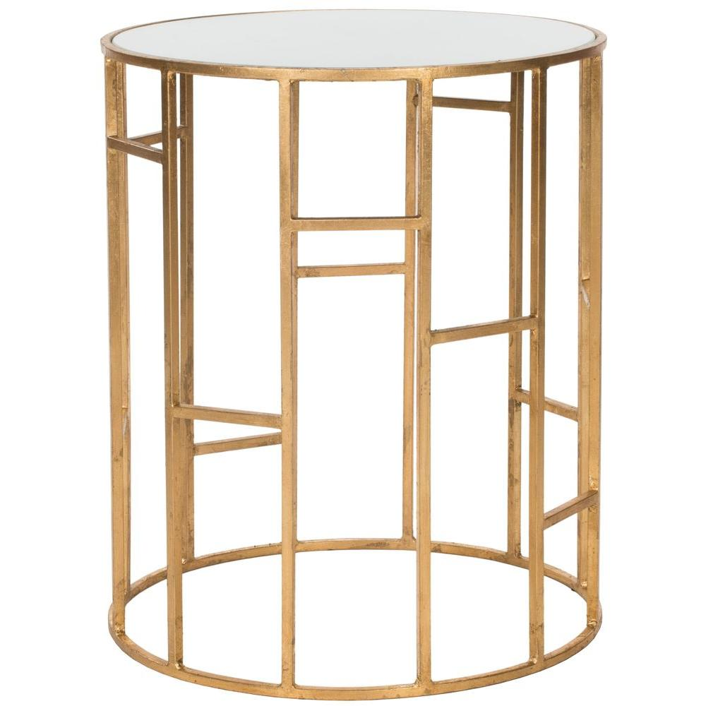 safavieh doreen gold and white glass top end table the tables accent shaped office desk mainstays coffee holland furniture target wood nautical chandelier light fixtures harrietta