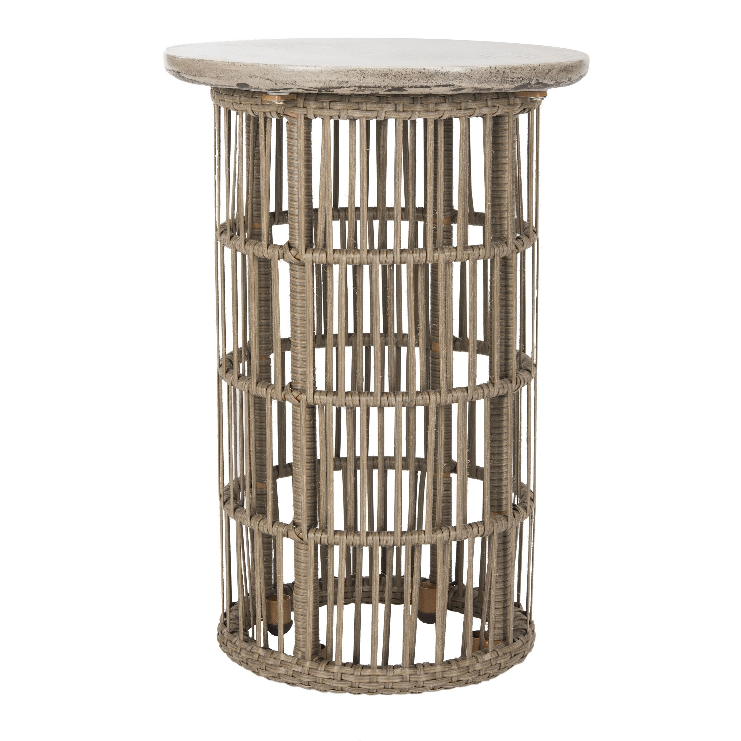 safavieh fane dark grey modern concrete indoor outdoor side table base accent drum throne seat only small patio furniture sets white and gold console nest tables plastic wicker