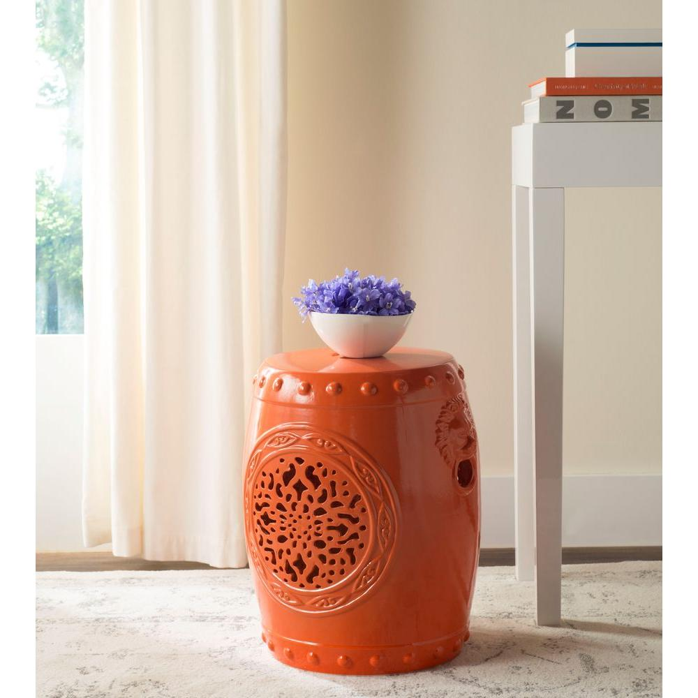 safavieh flower drum orange garden patio stool the outdoor side tables table crystal lamps white cloth covers accent console marble cocktail rustic sliding door end furniture west