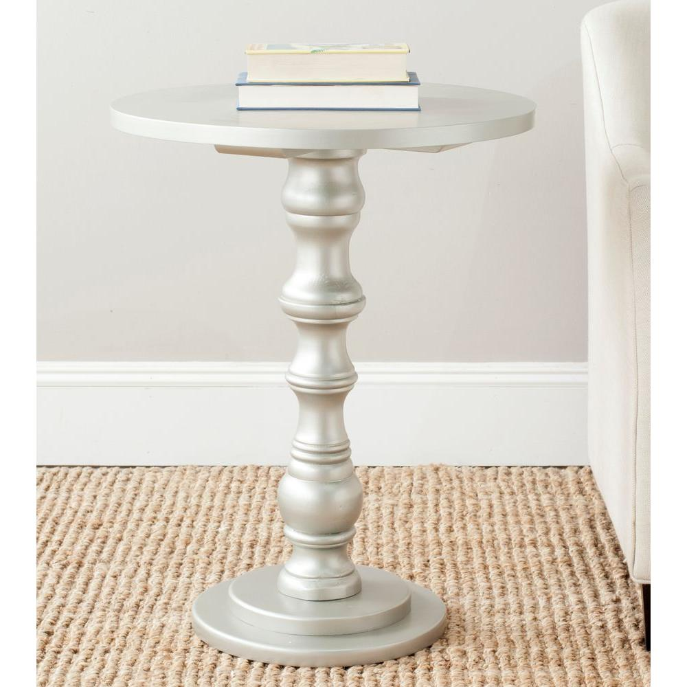 safavieh greta silver end table the tables modern pedestal accent pier one counter stools ott with wheels target threshold console metal legs outdoor patio clearance white