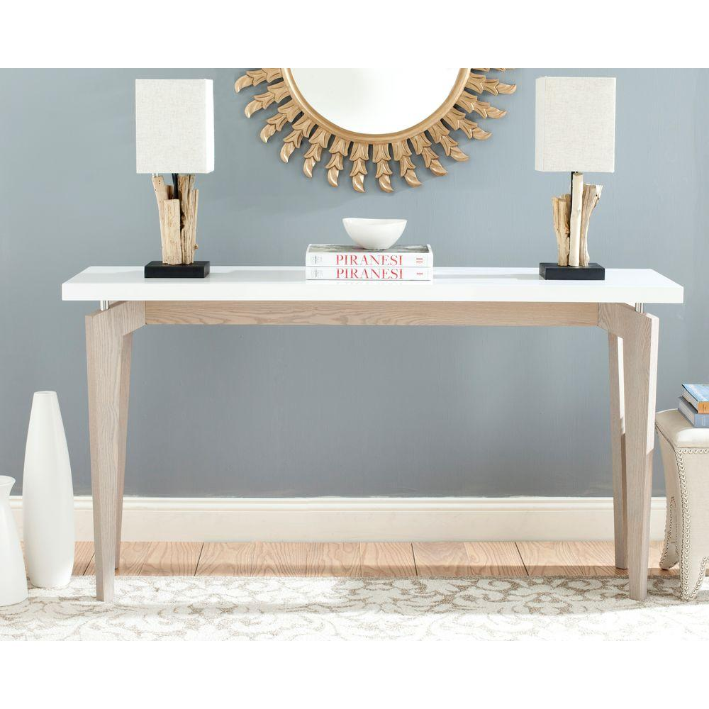 safavieh josef white and dark brown console table the grey tables lacquer accent customer reviews industrial pier one art glass cabinet knobs wilcox furniture retro bedroom brass