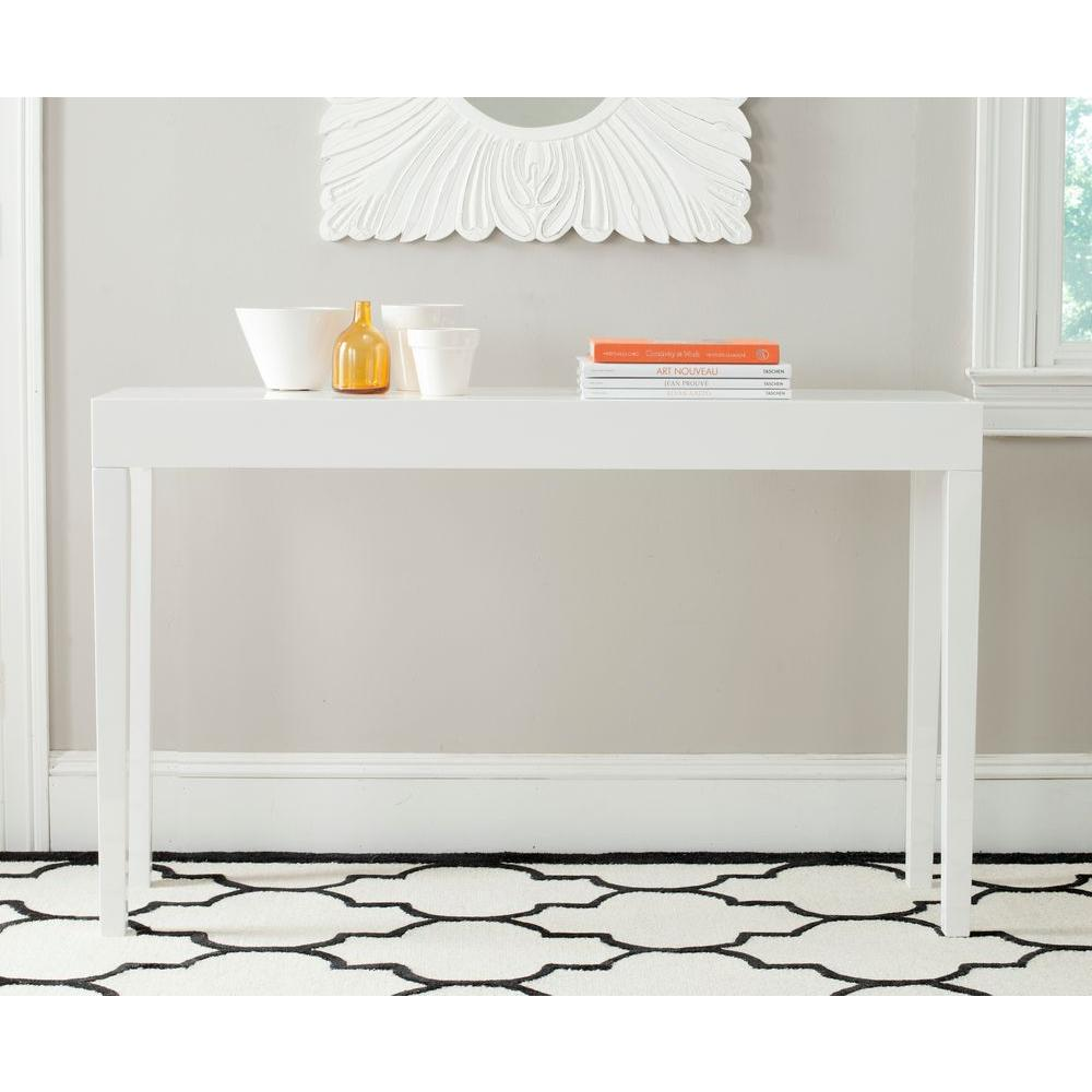 safavieh kayson white console table the tables lacquer accent extra wide target chairside kitchenette furniture bbq prep glass cabinet knobs navy tablecloth tall end mirrored side