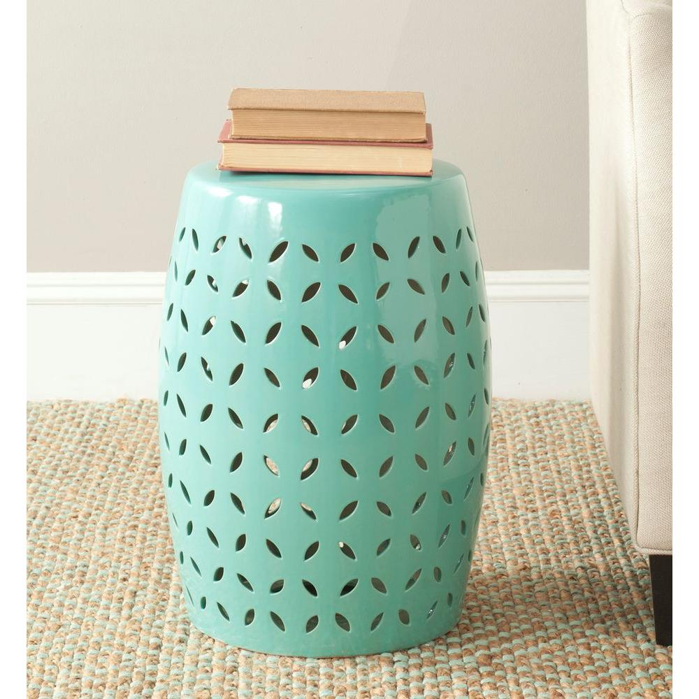 safavieh lattice petal robin egg blue ceramic patio stool outdoor side tables table wood pedestal end mirrored target pottery barn glass top lounge furniture clearance between two
