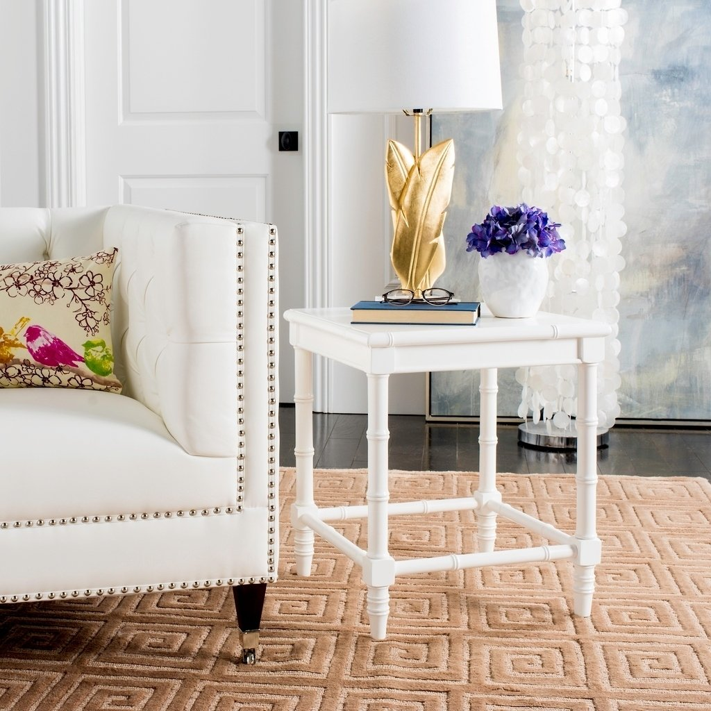 safavieh liviah white accent table free shipping today modern coastal bamboo janika butcher block desk gold and mirror side patio end with storage mid century furniture