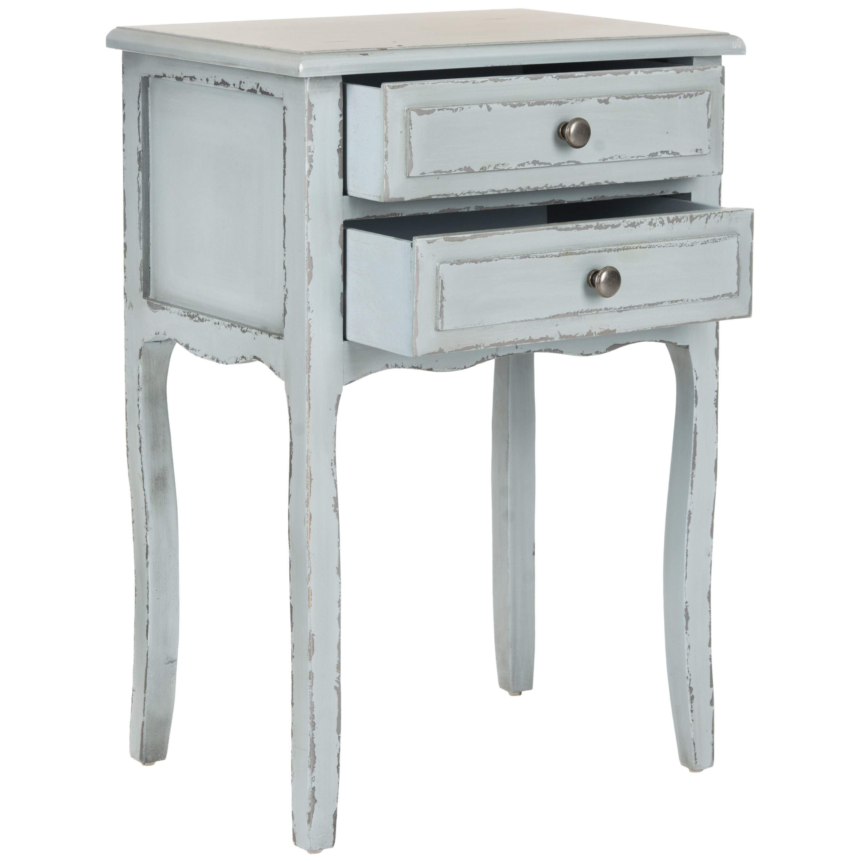 safavieh lori distressed pale blue accent table free shipping today pretty storage boxes ikea counter height kitchen and chair sets farmhouse sliding door console battery powered
