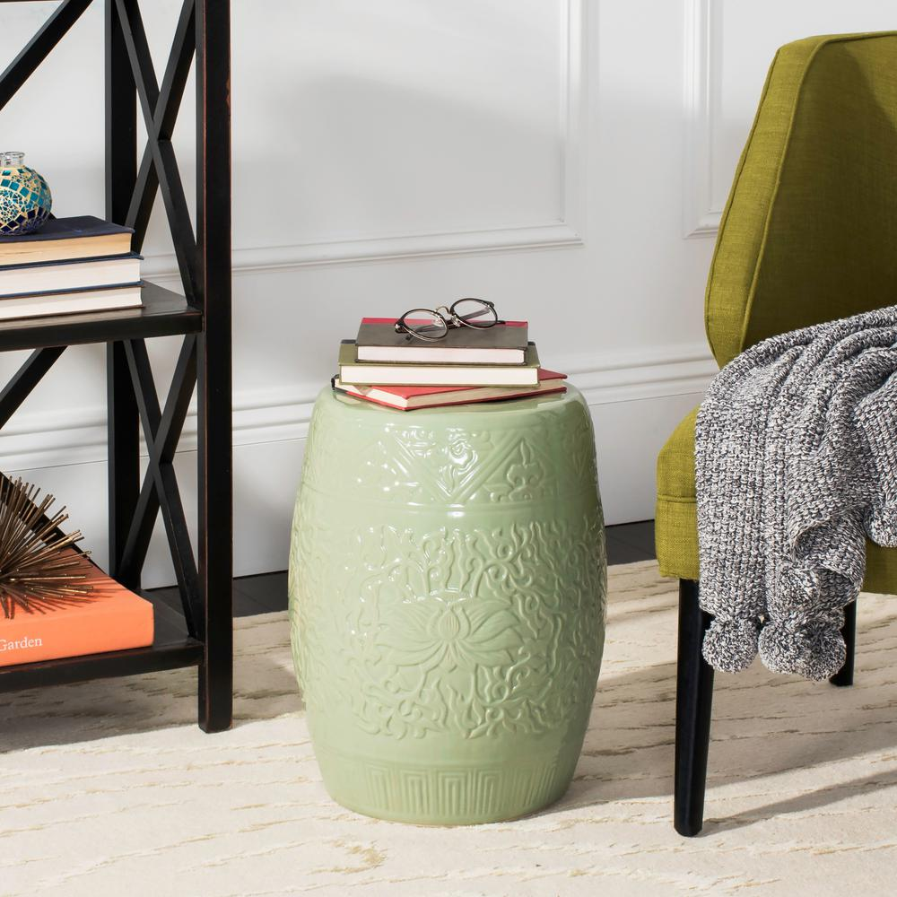safavieh lotus lime green ceramic patio stool the outdoor side tables table teak woven for lamp portable massage round living room furniture chairs glass chairside contemporary