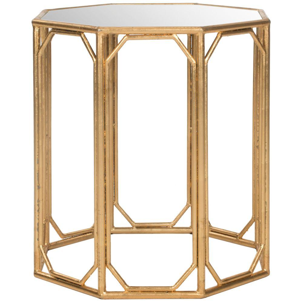 safavieh muriel gold mirrored top end table the tables accent and mirror ultra slim console leather sectional edmonton room essentials office chair battery powered bedroom lamps