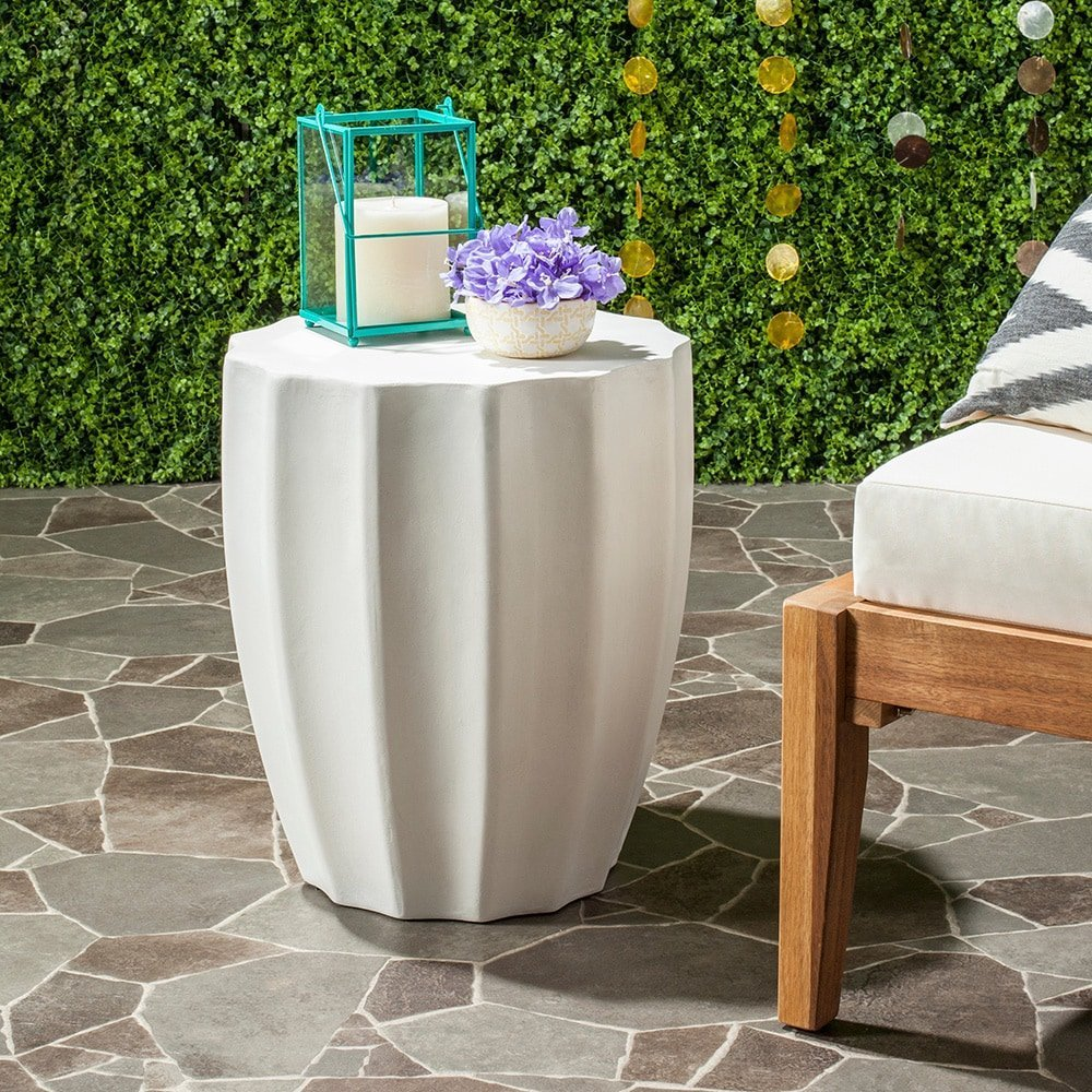 safavieh outdoor collection jaslyn modern concrete accent table ivory round inch garden bbq grills big lots couches wood pedestal hobby lobby coffee west elm chair ashley