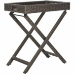 safavieh outdoor living brown wicker folding tray side table foldable accent free shipping today small concrete bistro height trestle top cast metal nate berkus low doll furniture 150x150