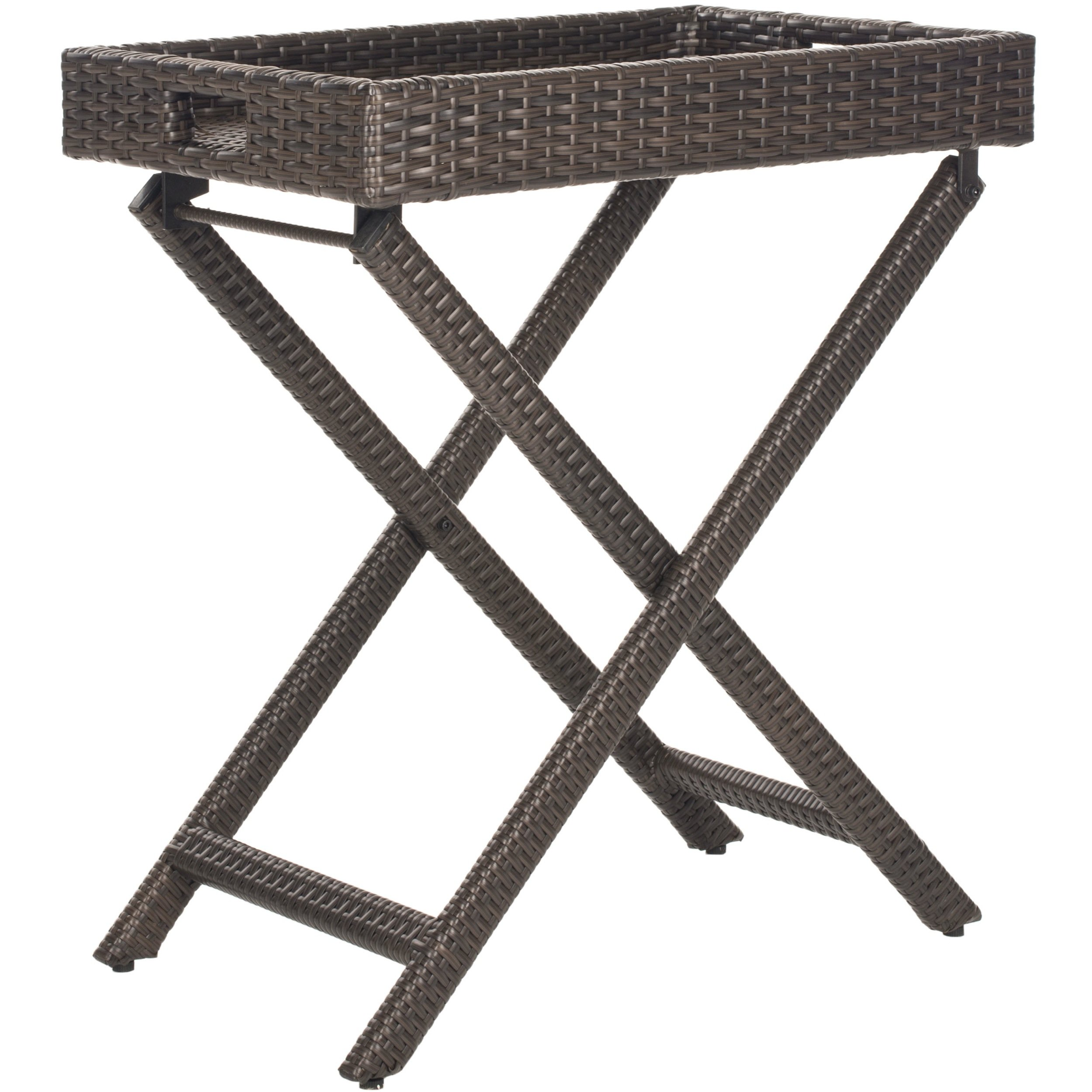 safavieh outdoor living brown wicker folding tray side table foldable accent free shipping today small concrete bistro height trestle top cast metal nate berkus low doll furniture