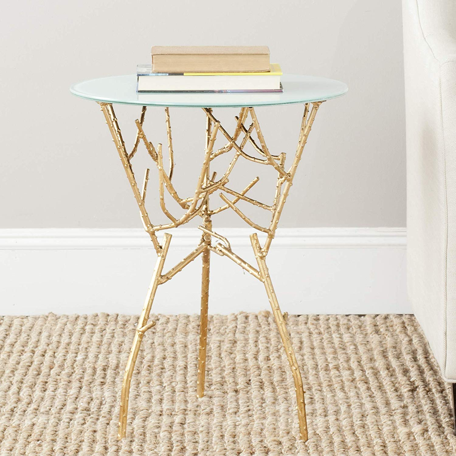 safavieh parent home collection tara branched qtnvptl gold accent table with glass top round white kitchen dining bedside cabinets jcpenney bar stools trestle canvas umbrella