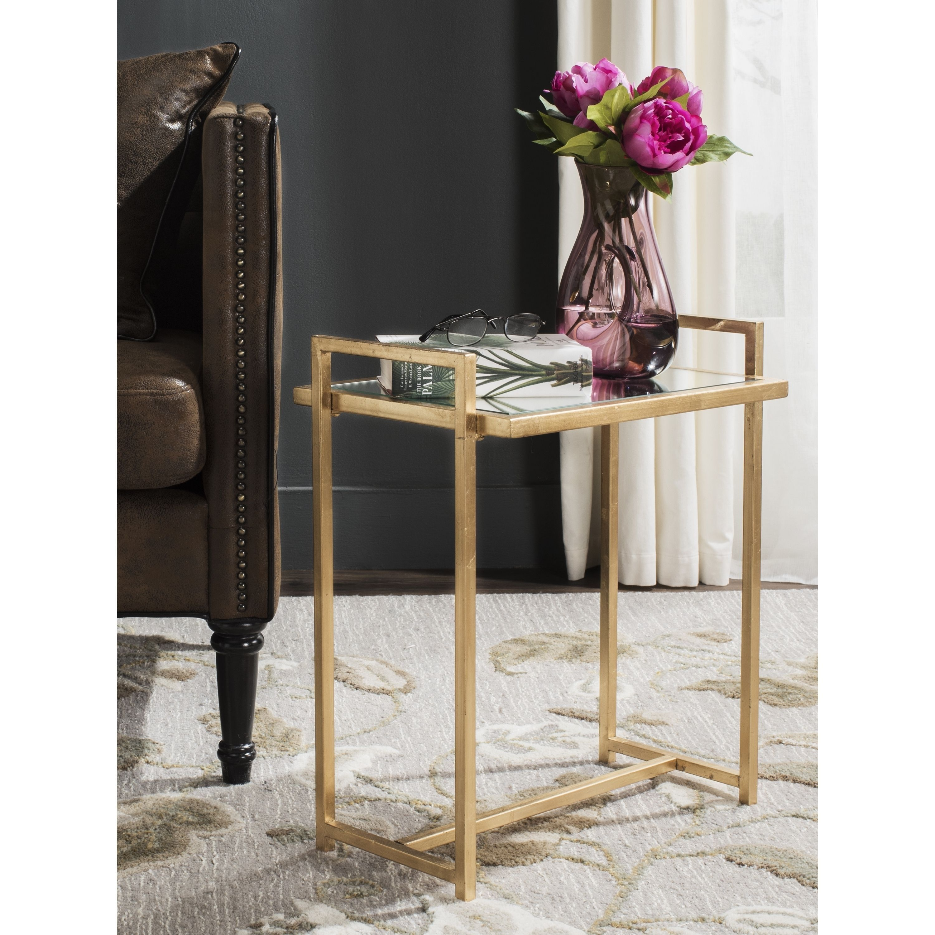 safavieh renly antique gold leaf end table products accent tall tables target furniture tulsa vanity rope lamp circular cover home decor outdoor wicker side with umbrella hole