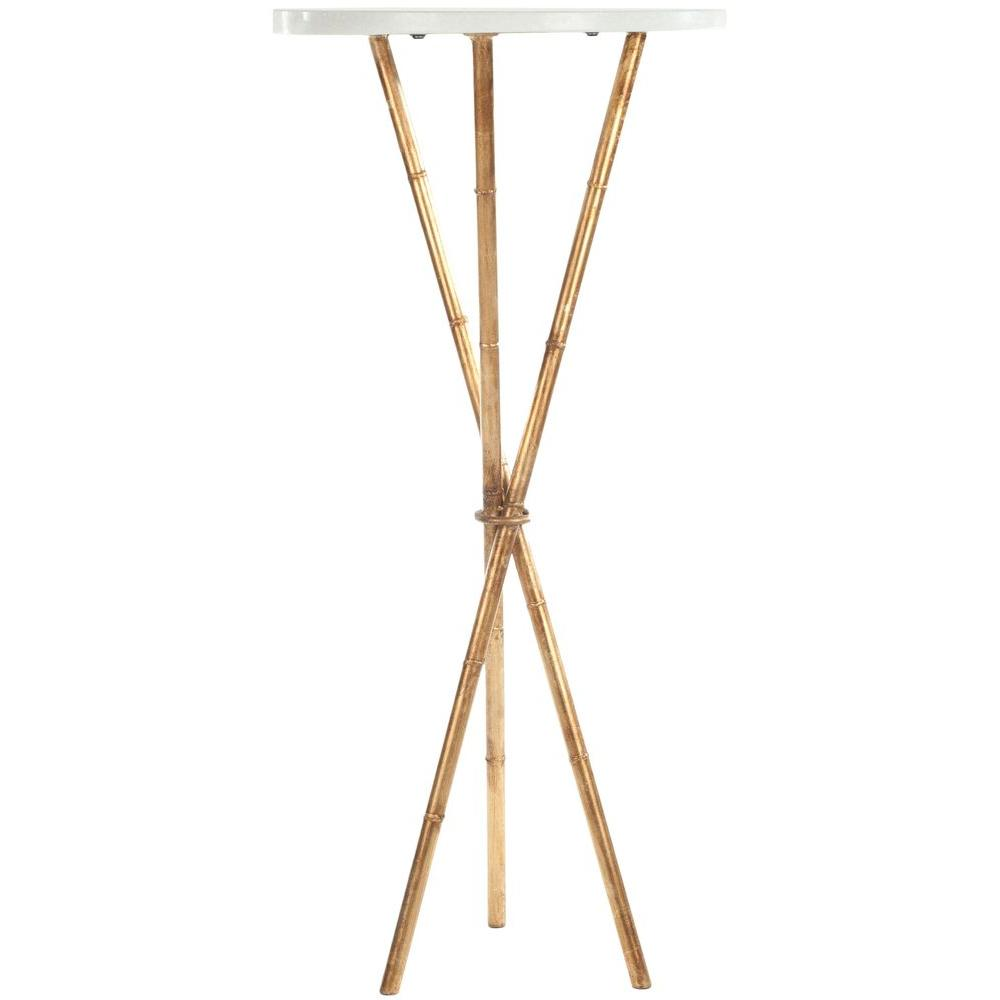 safavieh roger white and gold end table the tables accent timber top bunnings marble living room furniture pieces mirrored cube side vinyl tablecloth tiffany light fixtures small