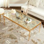 safavieh rosalia glass antique gold butterfly coffee table tables accent gallerie sofa teak dining set oval cover decorative wine rack small short side inch calgary round 150x150