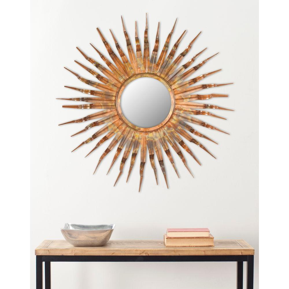 safavieh sun iron and glass framed mirror wall mirrors solar metal accent table croscill shower curtains wooden legs target chrome brown leather ott indoor mat couches edmonton