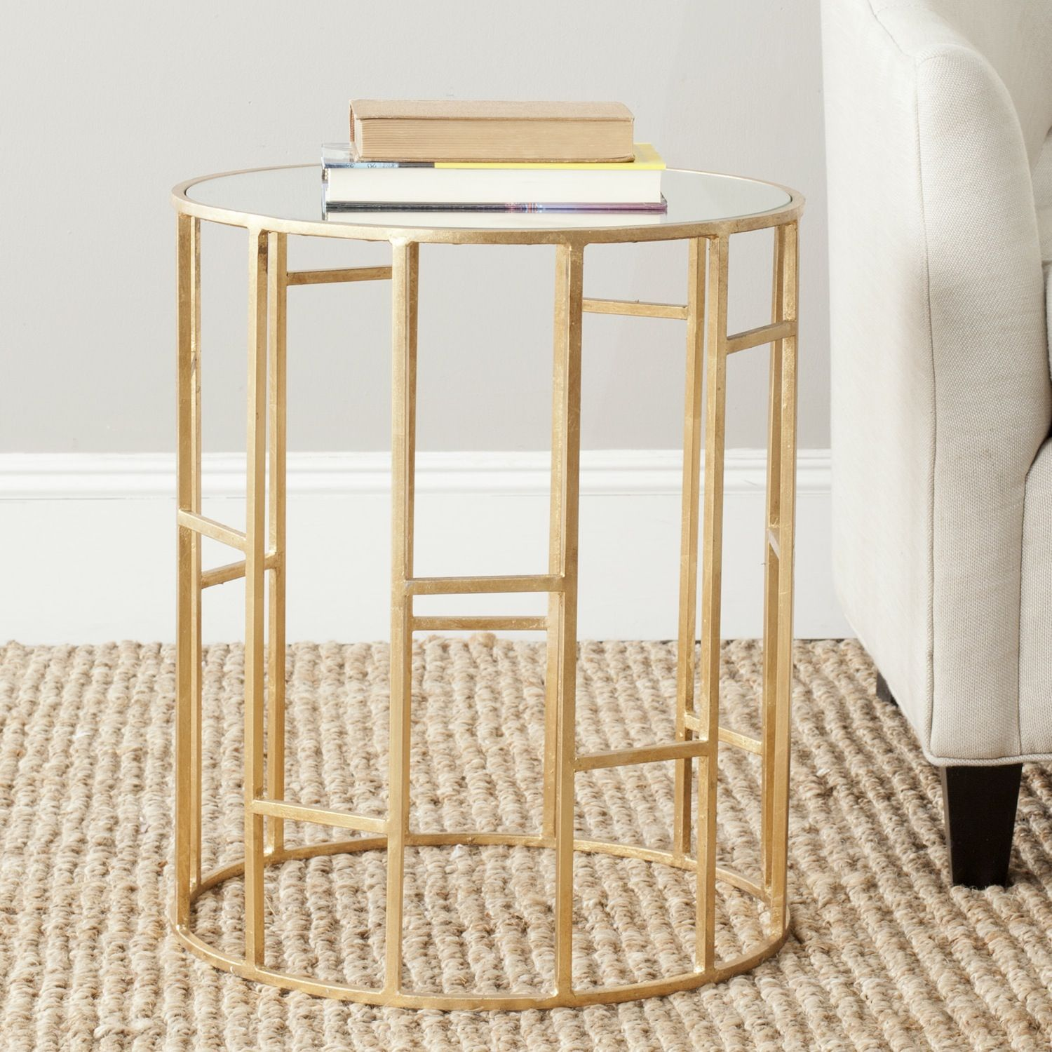 safavieh treasures doreen gold mirror top accent table condos solid wood sofa glass entry concrete mirrored bedside lockers small pine nightstand target contemporary end tables