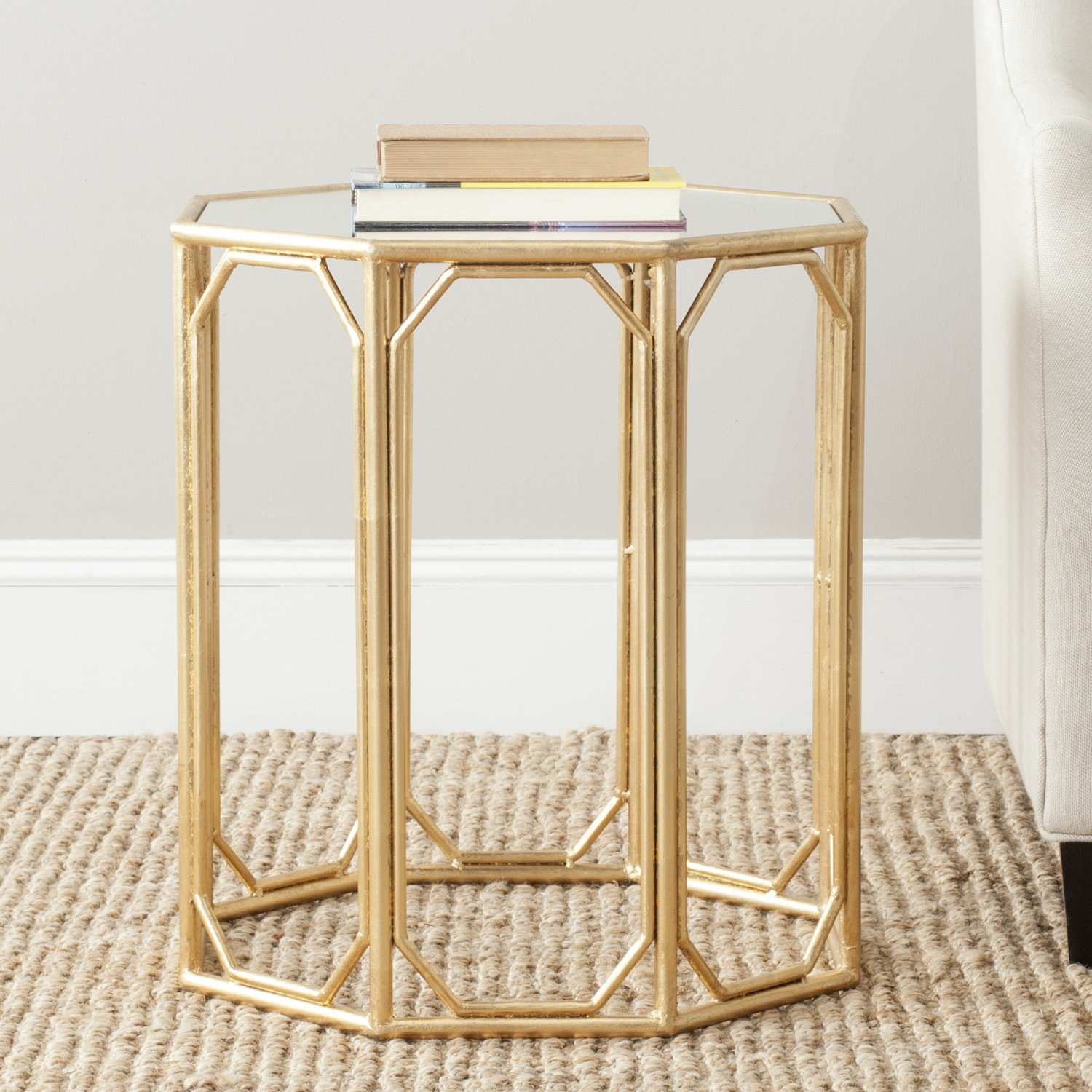 safavieh treasures muriel gold mirror top accent table free tables with matching mirrors shipping today pedestal dining room turquoise pieces front entry contemporary wood side
