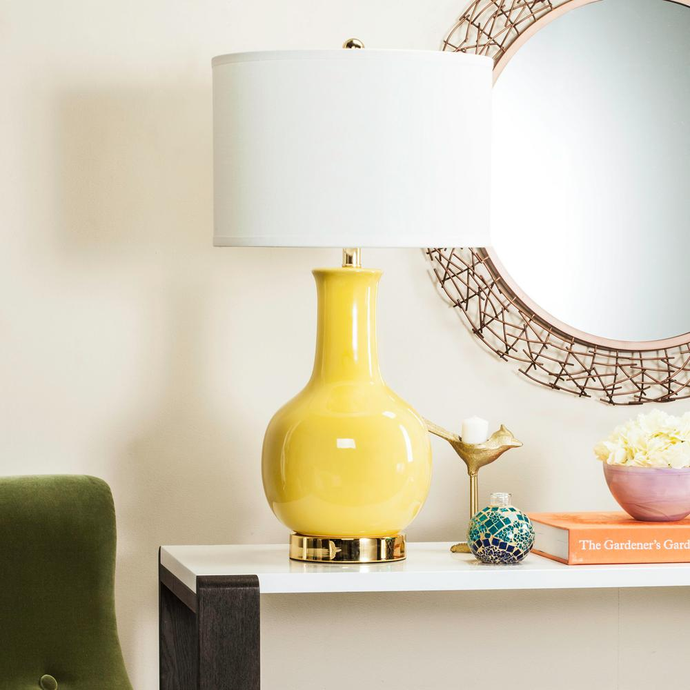 safavieh yellow ceramic paris lamp with white shade table lamps crate and barrel marilyn accent oriental style kitchen bar storage round dog wash tub entry hall chest drawers