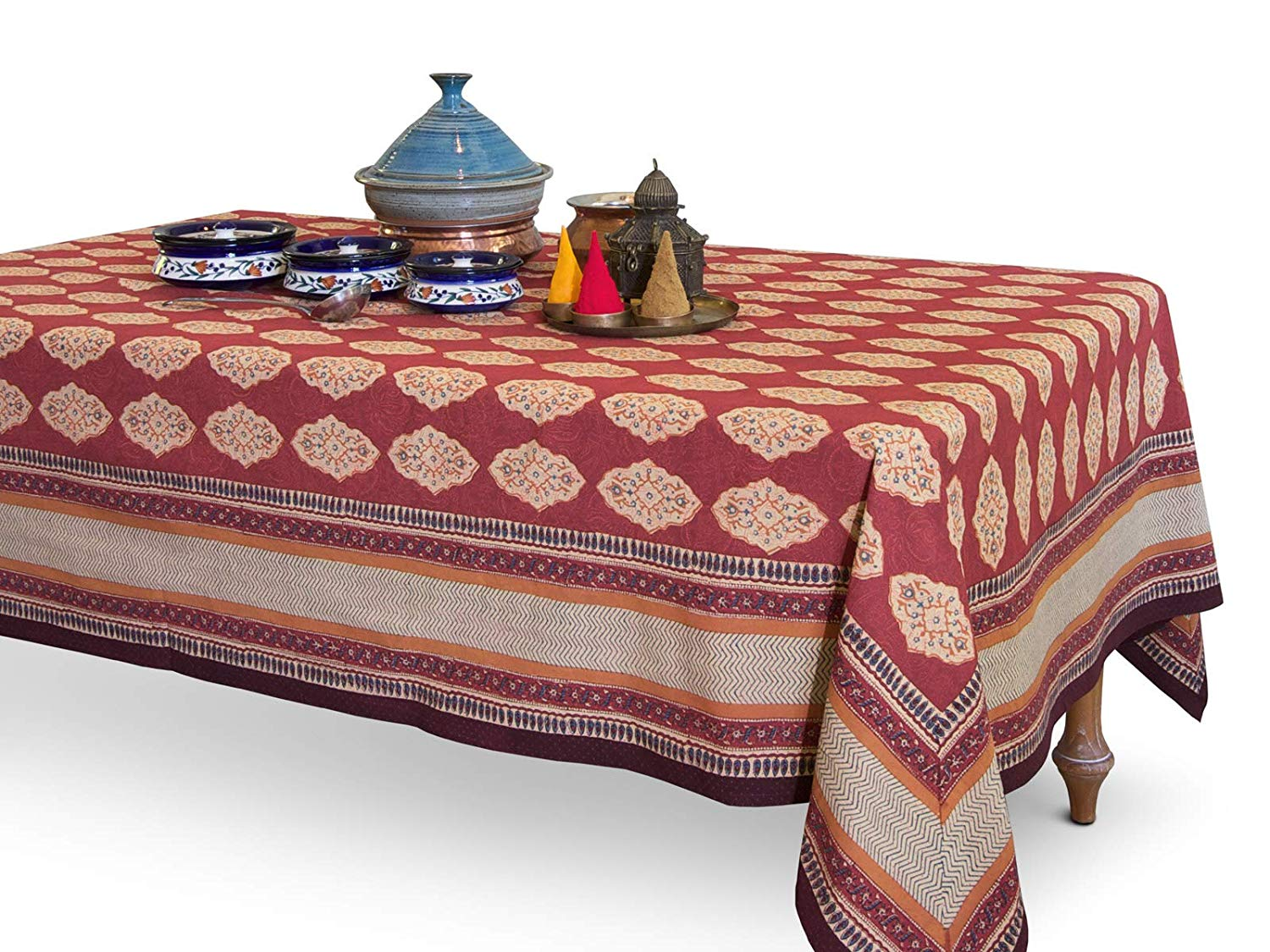 saffron marigold rectangle route cotton artistic accents tablecloth red orange moroccan print bohemian table cover home kitchen narrow sofa side high end furniture companies