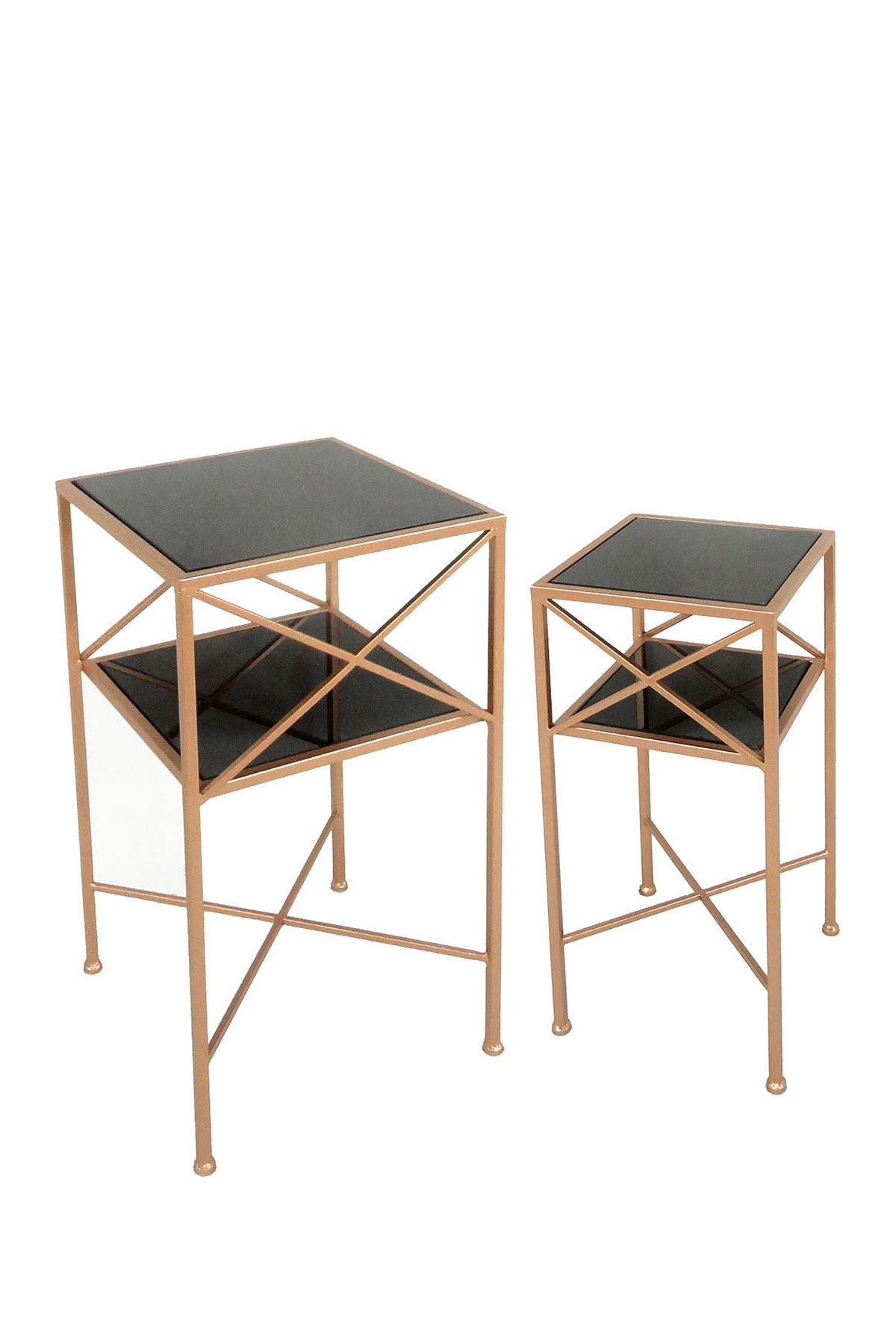 sagebrook home copper black metal mirror accent tables set table and kitchen with wine rack mid century modern dining chairs small glass top foyer furniture pieces pottery barn