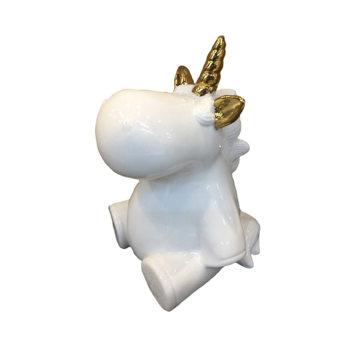 sagebrook home decorative ceramic unicorn figurine gold white inches accent table free shipping orders over brass legs for coffee outdoor side resin half moon sofa small computer