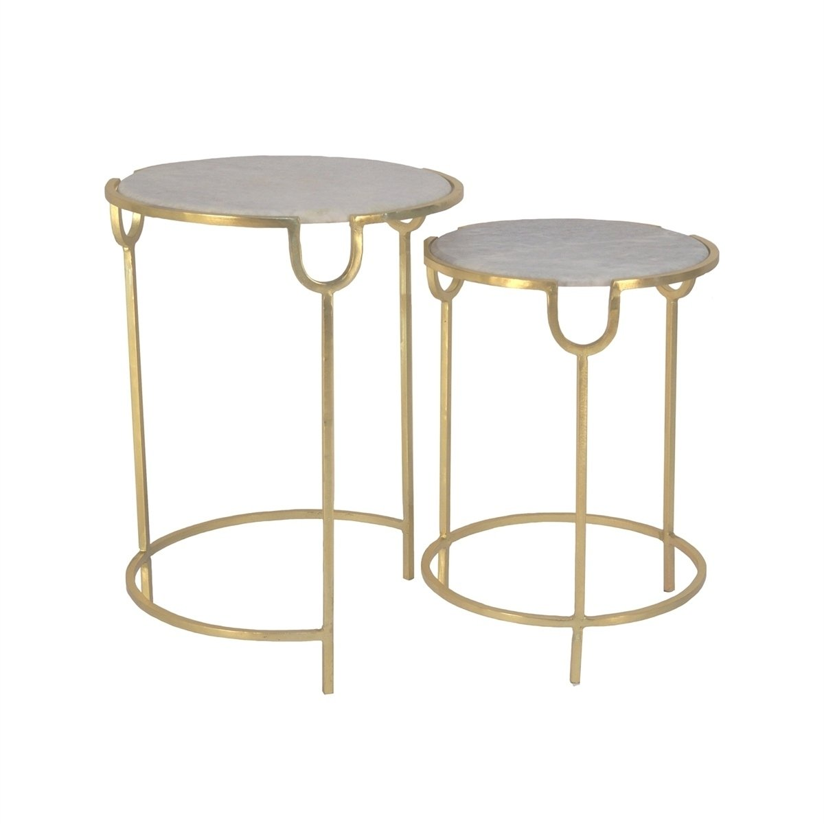 sagebrook home iron accent tables marble top gold metalglass inches set table with free shipping today wicker patio and chairs trestle ashley bedroom furniture yellow outdoor side