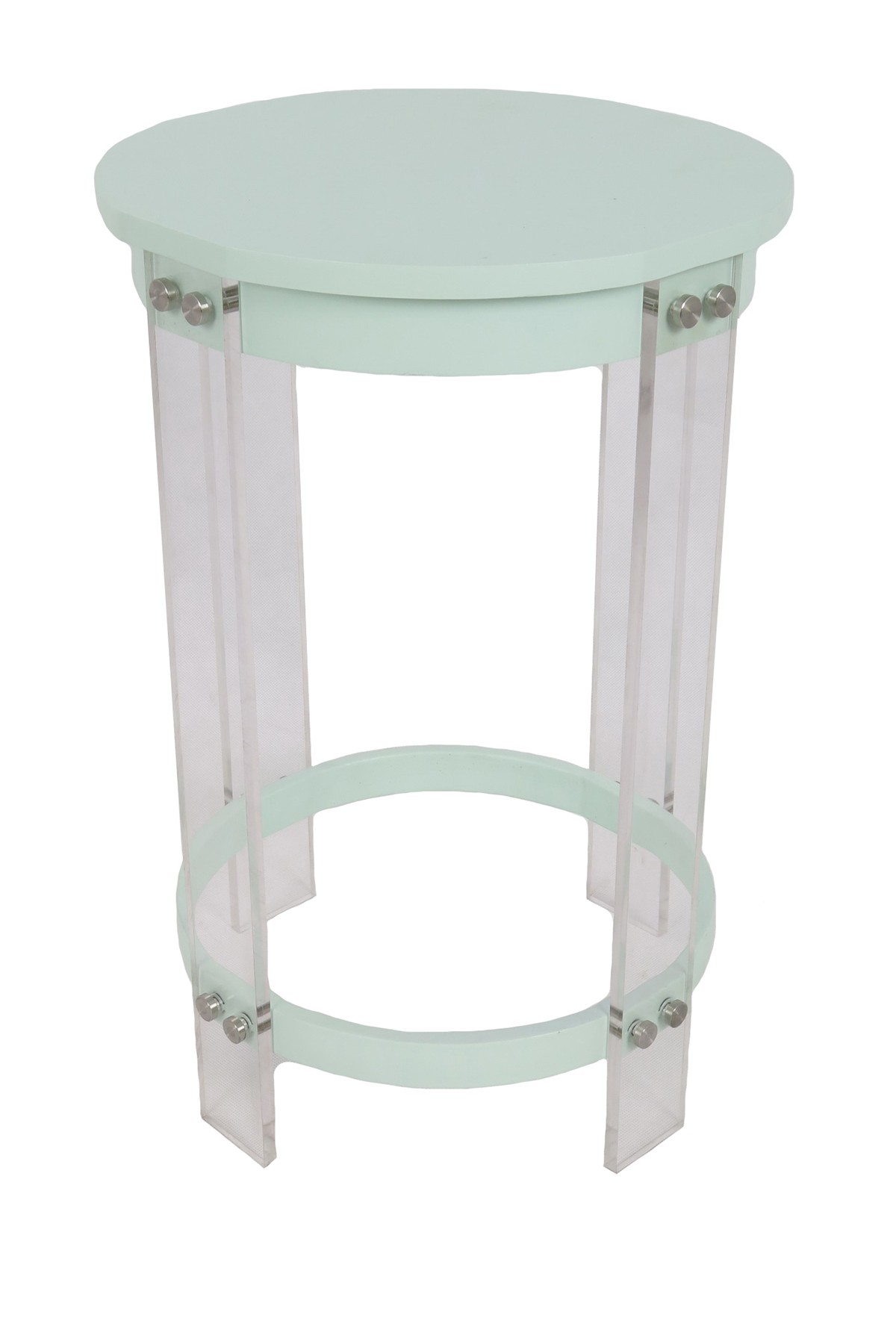 sagebrook home light blue acrylic mdf round accent table metal furniture and decor outdoor patio seating carpet tile edging strip french farmhouse stacking side tables screw feet