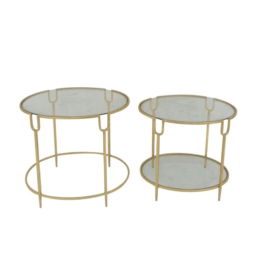 sagebrook home metal glass accent tables gold inches set table free shipping today large end modern hallway furniture sofa behind diy bar with top round pedestal dining pier one
