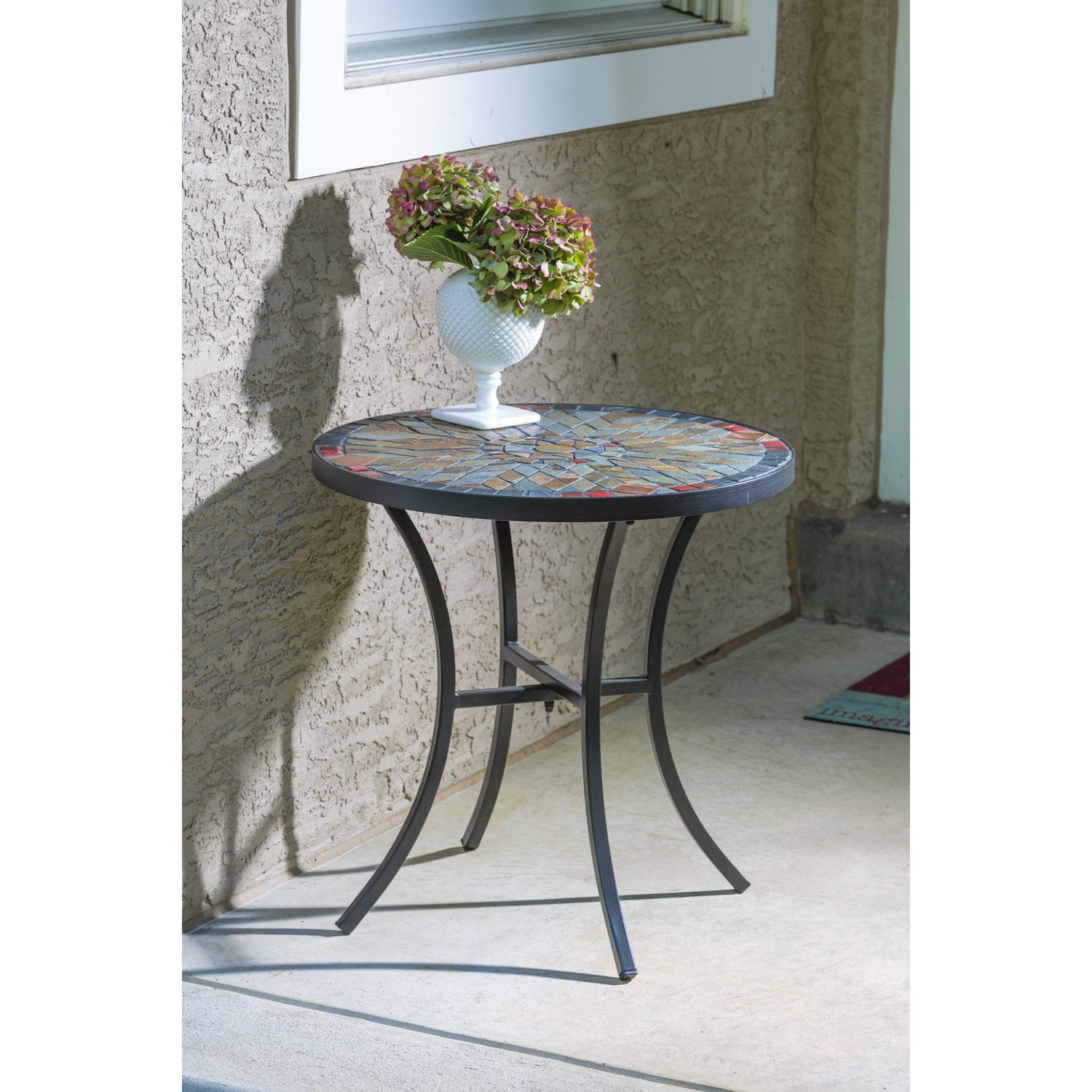 sagrada ceramic inch round mosaic outdoor side table with tile top and base accent free shipping today small couches for spaces dresser drawer pulls wheels kitchen sideboard