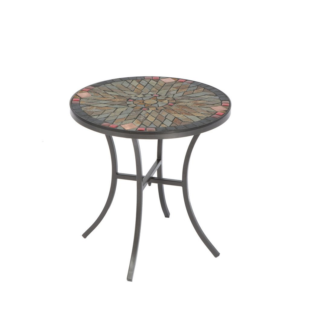 sagrada ceramic inch round mosaic outdoor side table with tile top and base free shipping today occasional furniture sofa for small space living room contemporary wood coffee