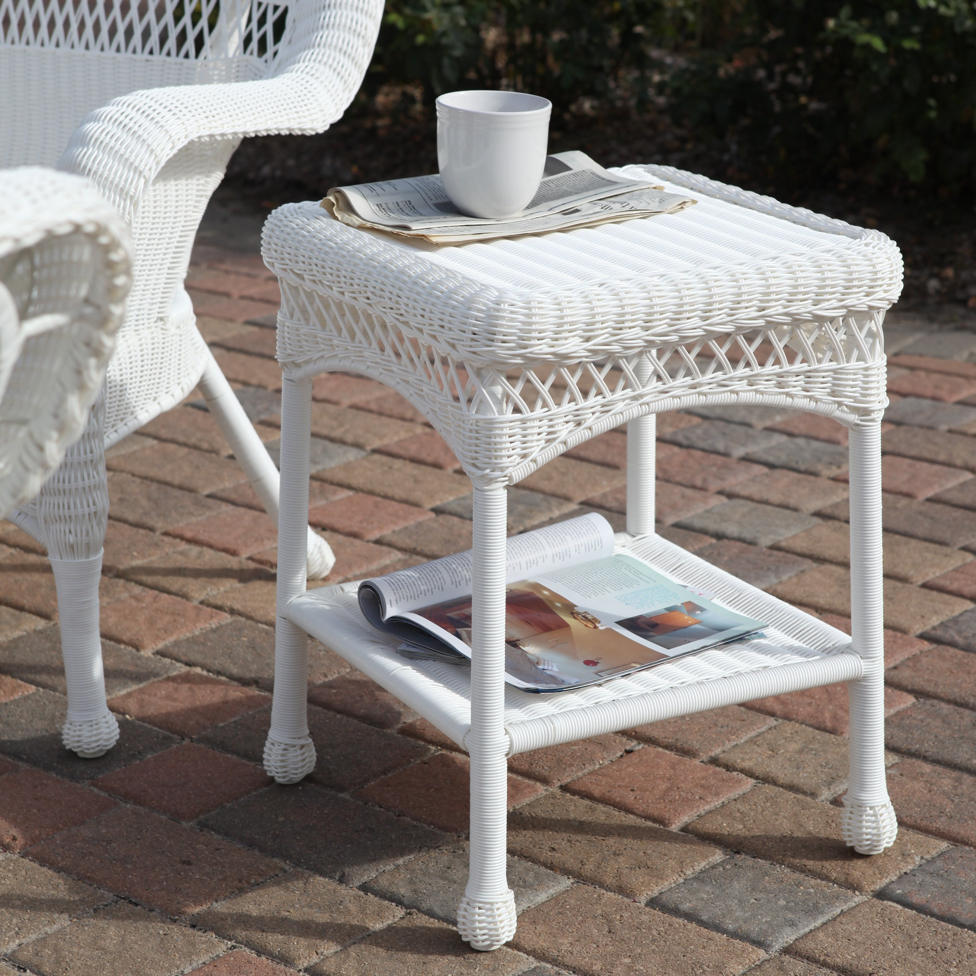 sahara all weather outdoor wicker end table master patio accent tables black metal frame coffee marble living room sitting furniture shoe organizer target chairside with usb