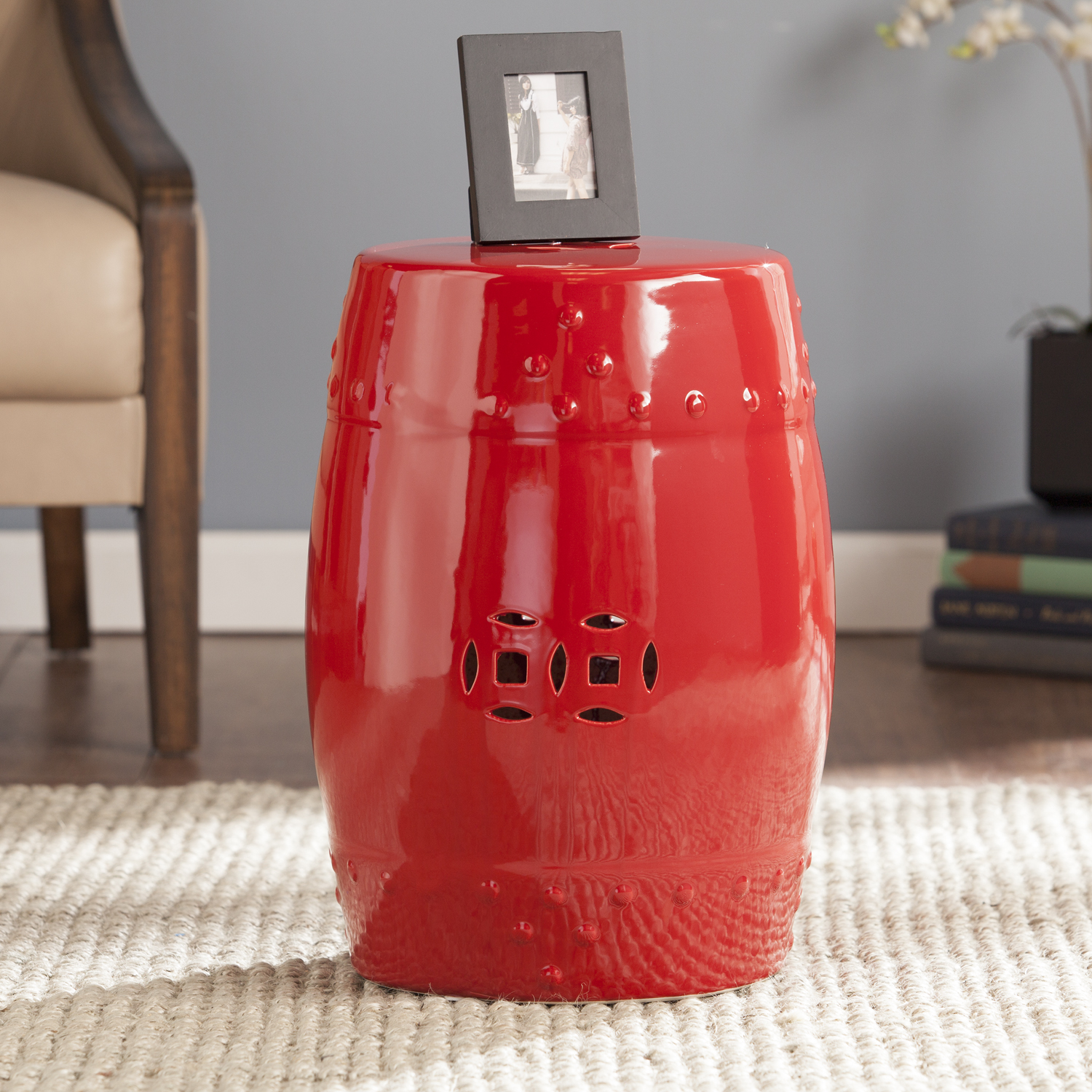 salinas poppy red ceramic indoor outdoor accent table stool metal willow furniture narrow sofa behind couch pottery barn leather pair lamps bedroom sets side cupboards for living