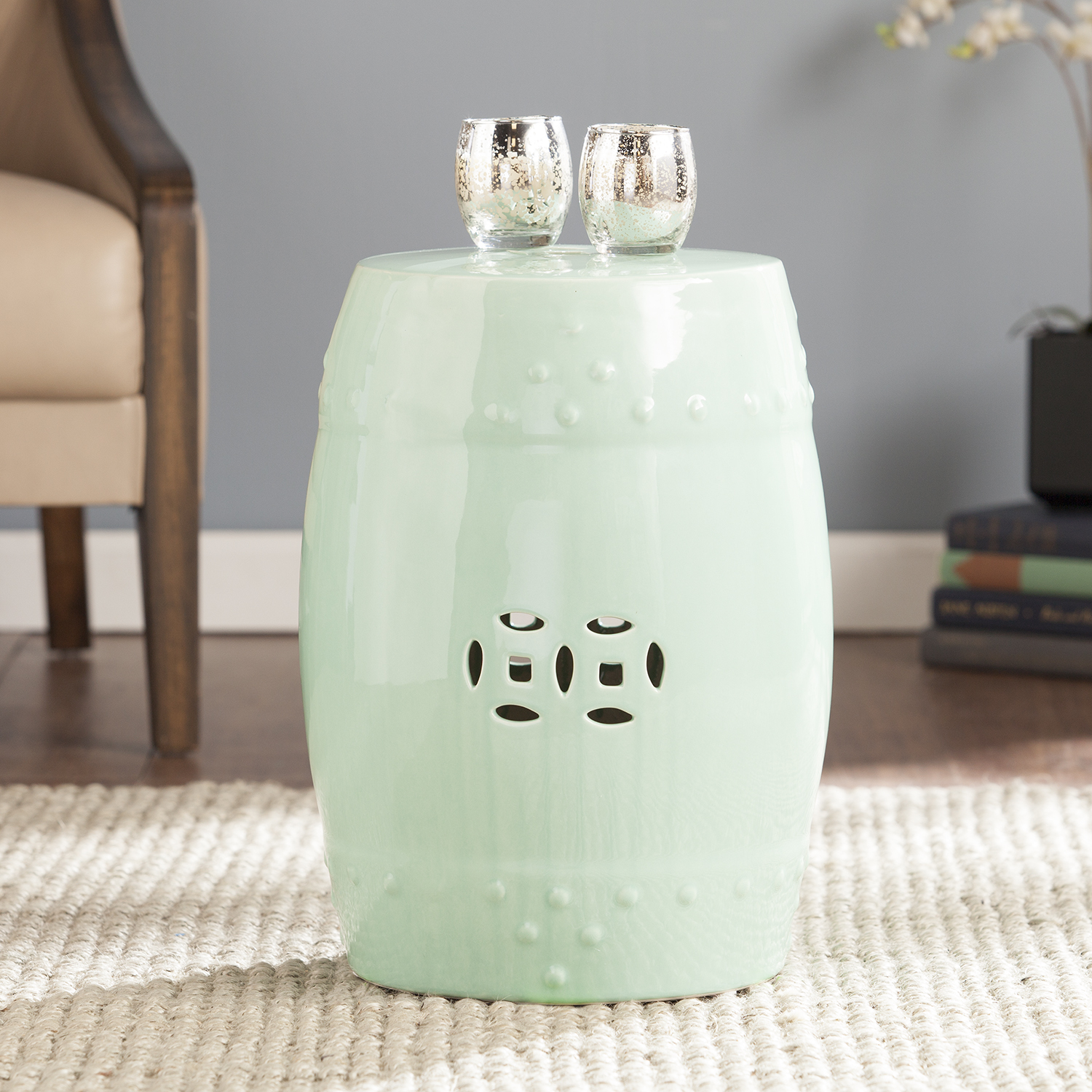 salinas seafoam green ceramic indoor outdoor accent table stool garden ashley home furniture shaped dale tiffany mini pendant lights white round coffee with storage custom butcher
