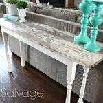 salvage plank sofa table with spindle legs diy furniture wood accent nate berkus lamp beach cottage lighting battery powered lamps pottery barn kitchen tables and chairs small 150x150