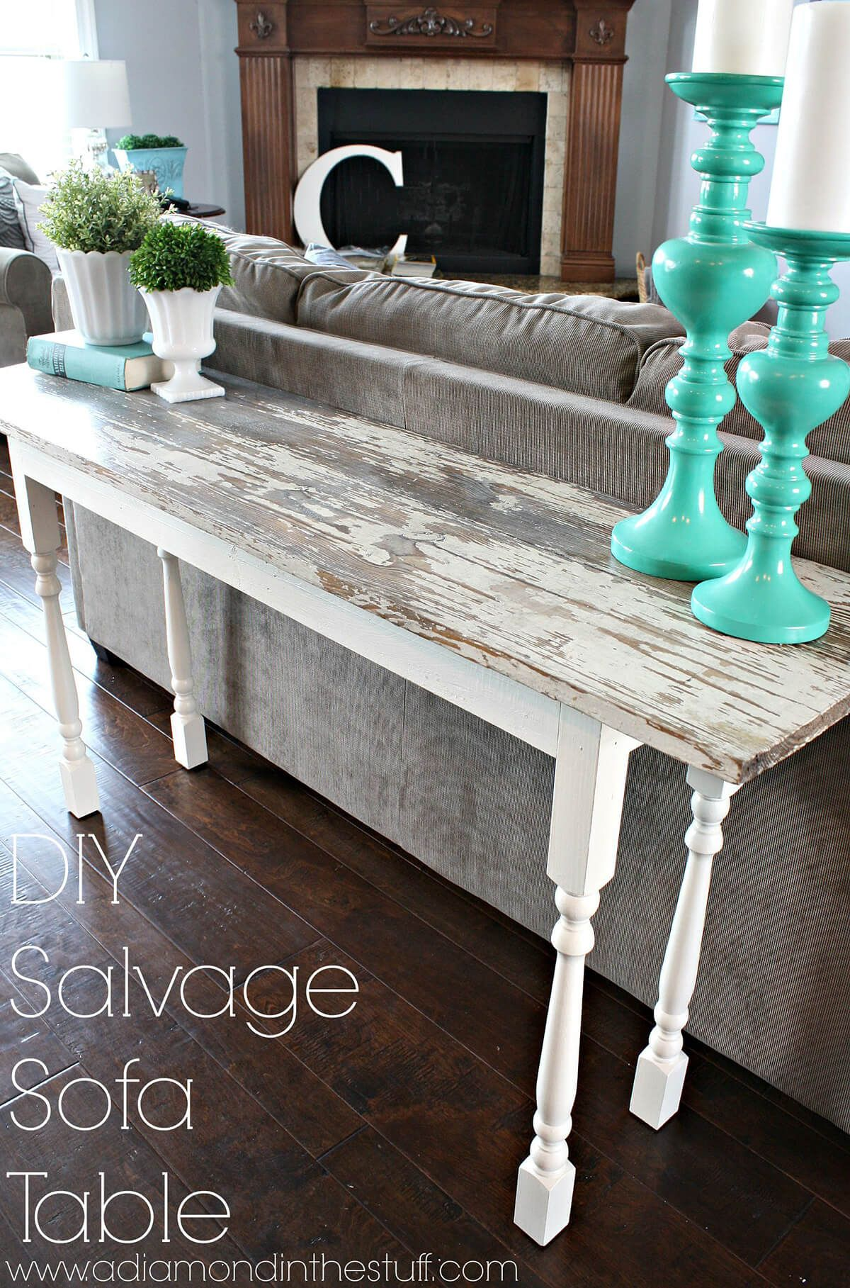salvage plank sofa table with spindle legs diy furniture wood accent nate berkus lamp beach cottage lighting battery powered lamps pottery barn kitchen tables and chairs small