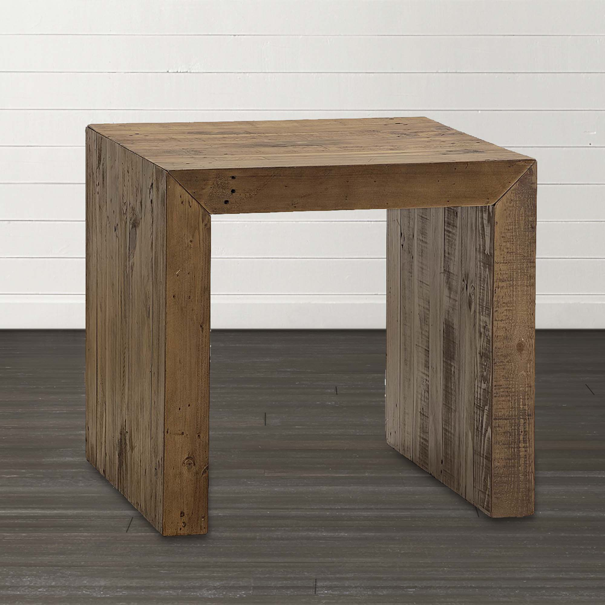 salvaged timber square end table bassett home furnishings wood anton accent brown glass coffee ice container cube style dining room chest pedestal patio tablecloth mint green