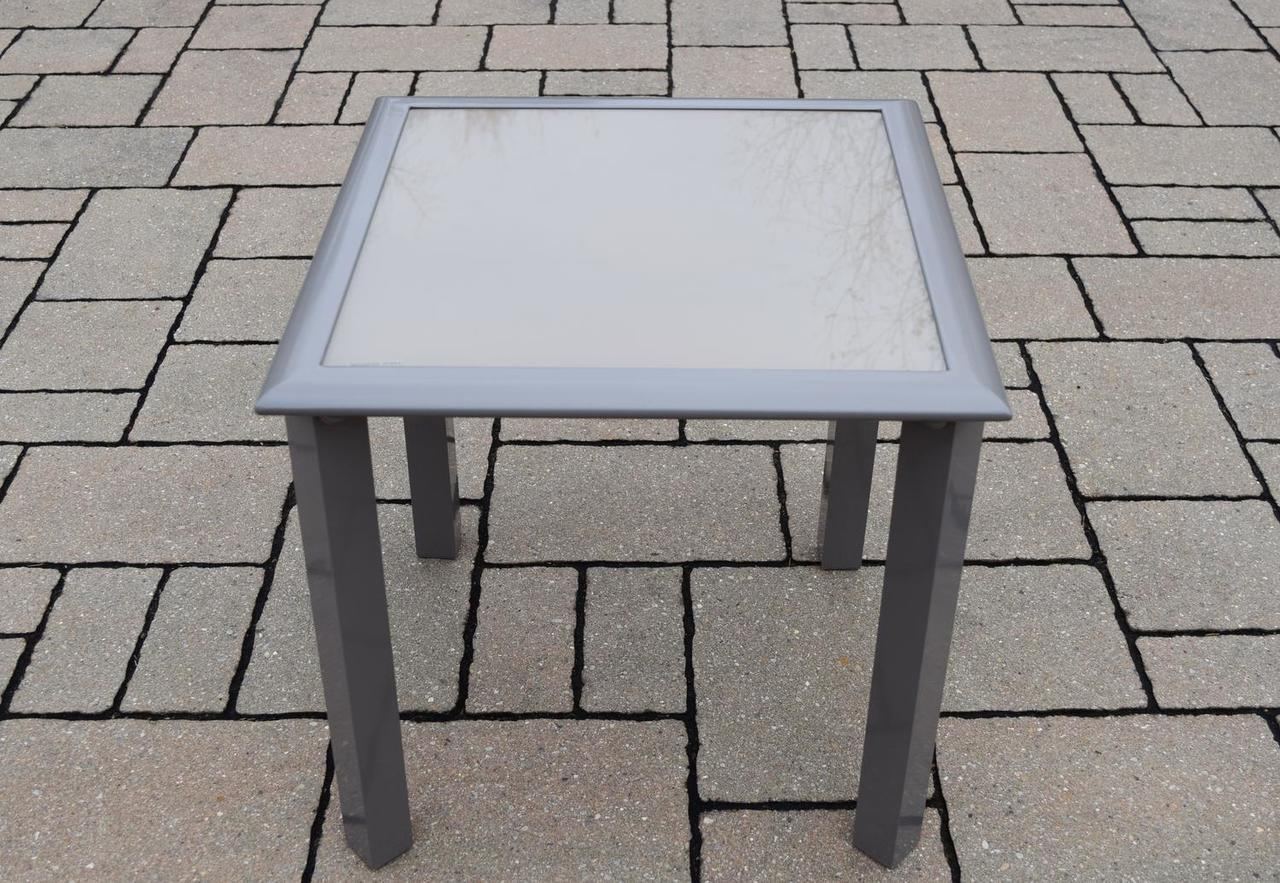 sand colored outdoor screen printed patio glass top side table cube industrial lamp corner television stand circular stacking tables ashley furniture sofa sets mosaic garden and