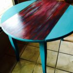 sante mojo turquoise chalk painted drop leaf table featuring unicorn accent the fabulous spit gel stain used diy chalky paint base and blend brown marble coffee globe lamp 150x150