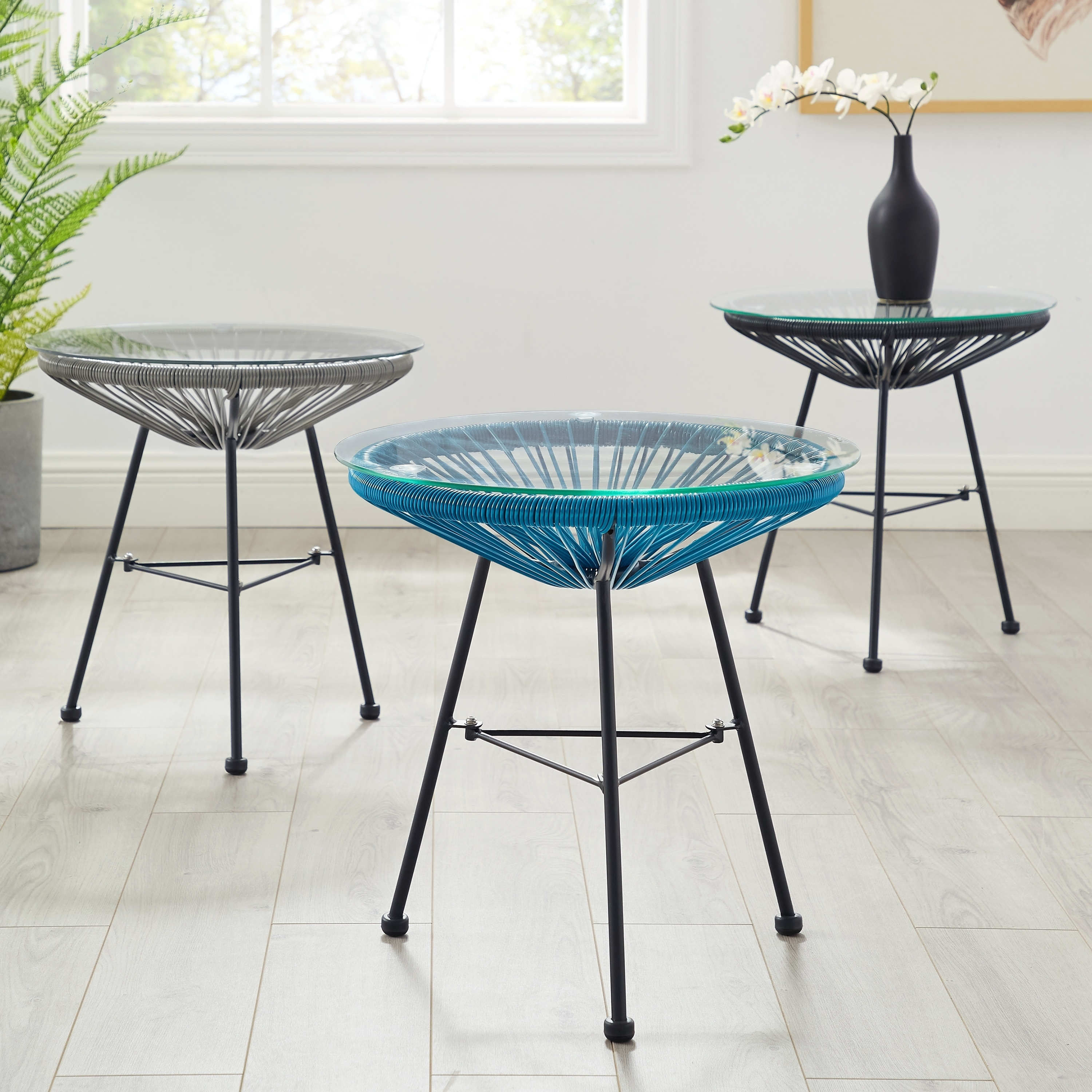 sarcelles modern woven wicker patio side table with glass top corvus blue outdoor accent free shipping today tray wood stump stackable snack tables unfinished dining hairpin