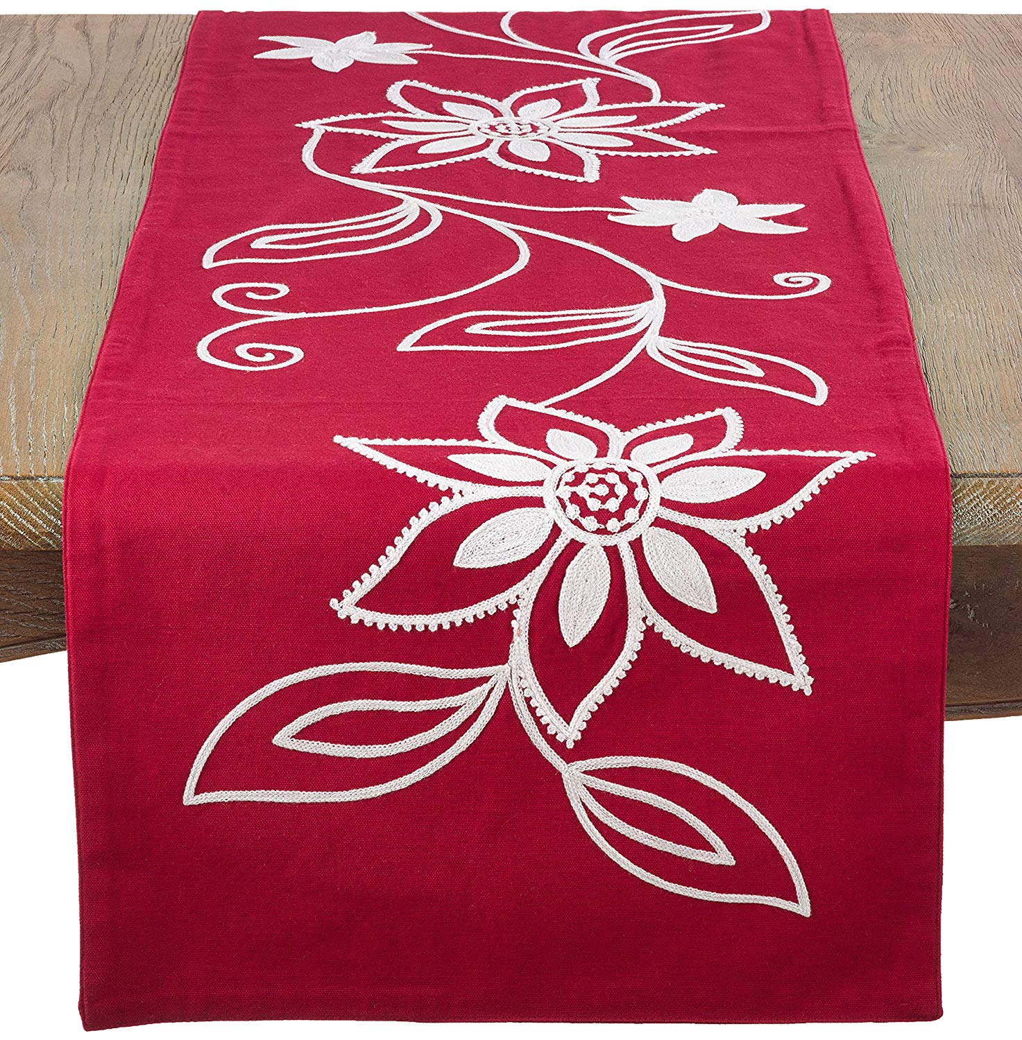 saro flower design holiday poinsettia table runner red cxrykpxl accent your focus home kitchen uma coffee narrow oak console battery powered floor lights green marble top patio