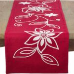 saro flower design holiday poinsettia table runner red cxrykpxl accent your focus pattern home kitchen aluminum patio bar and chairs weathered white end tables marble square 150x150