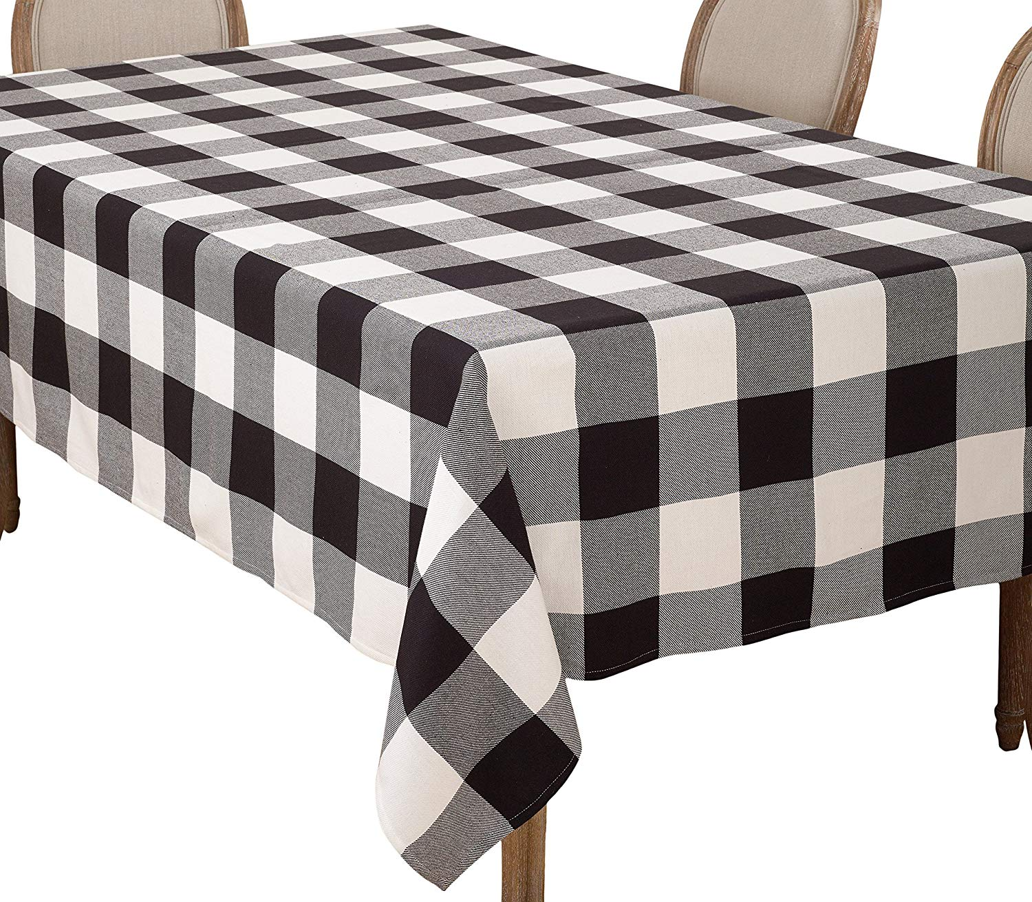 saro lifestyle buffalo plaid check design cotton accent your focus table runner pattern tablecloth black home kitchen french furniture company big lots tables glass top outdoor
