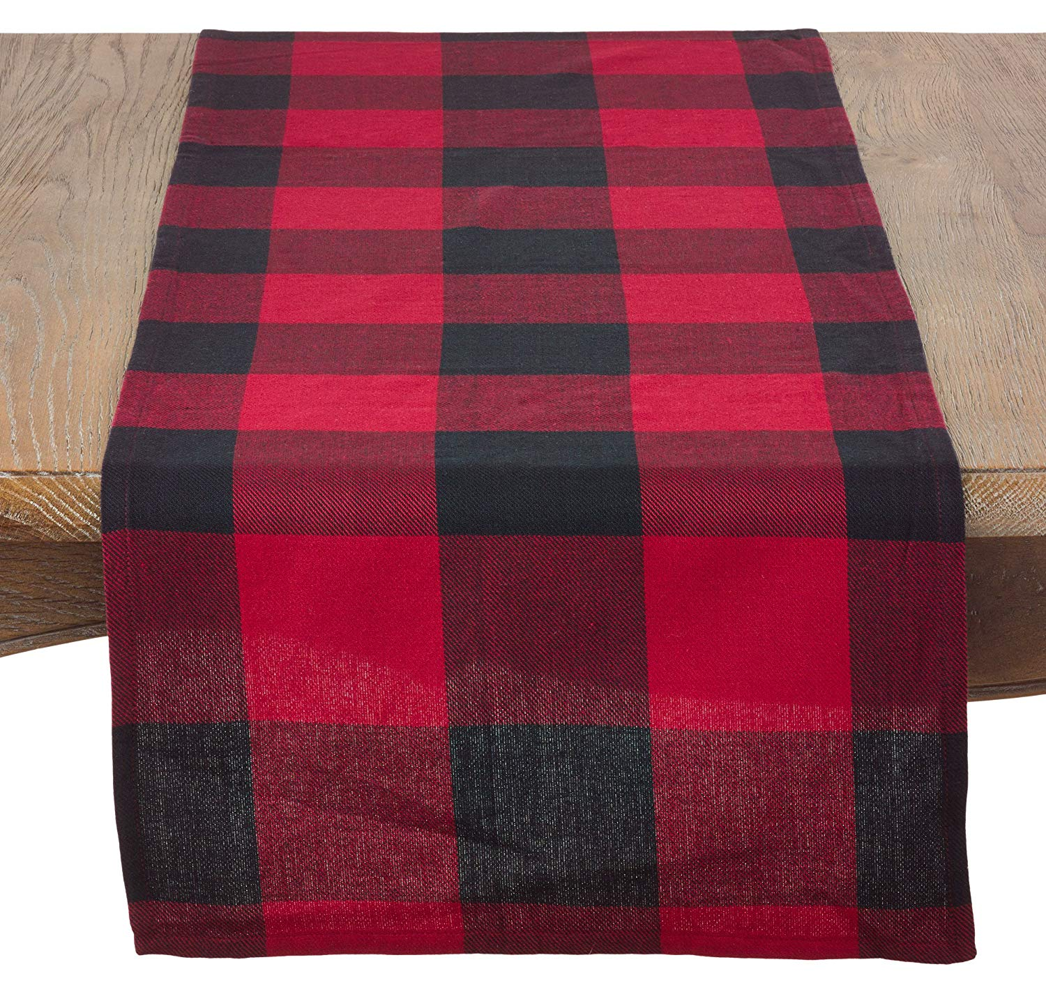saro lifestyle buffalo plaid table runner blg accent your focus free pattern red home kitchen target nightstand large shade umbrella diy farmhouse tablecloths and placemats side