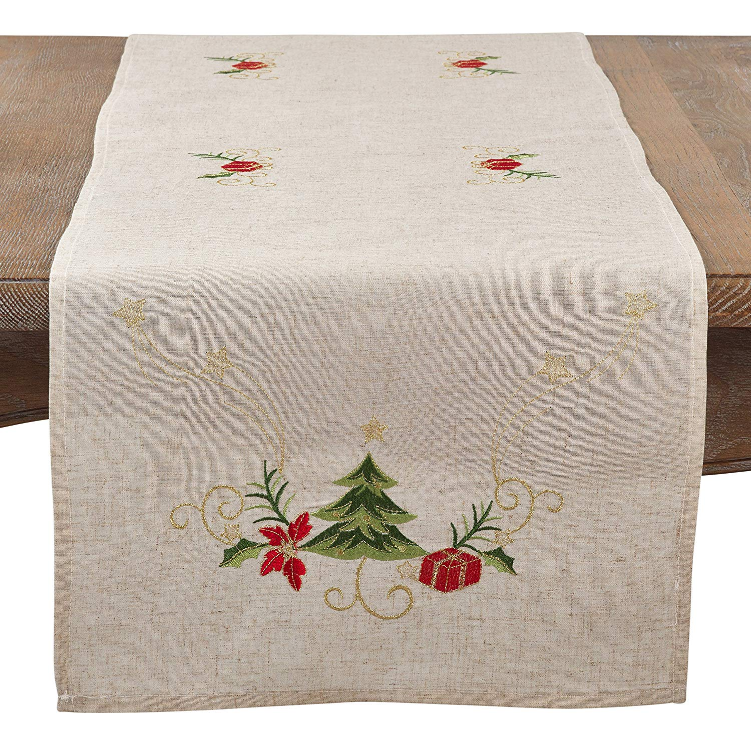 saro lifestyle embroidered christmas tree design linen accent your focus table runner free pattern blend natural home kitchen nested furniture country tables target nightstand