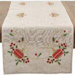 saro lifestyle embroidered ornament design christmas accent your focus table runner pattern linen blend natural home kitchen hampton bay furniture grey chairs wall real wood grill 150x150